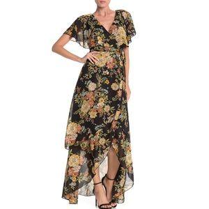 NEW Free Press Dark floral flutter sleeve dress M